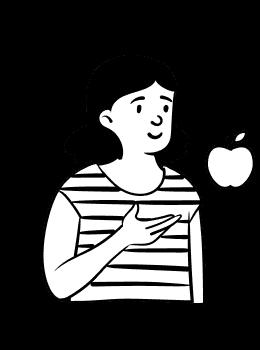 Girl apple in hand